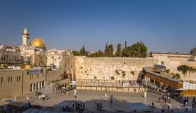 Le mur occidental, dôme de la roche, vieille ville de Jérusalem Photographie stock
