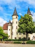 Le musée de Spessart, neigent le château blanc dans la canalisation de Lohr AM, Allemagne Photographie stock libre de droits
