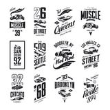 Le muscle de vintage, le roadster, le hot rod et le logo classique de T-shirt de vecteur de voiture ont isolé l'ensemble illustration de vecteur