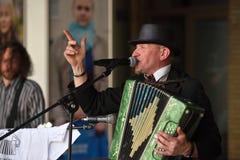 Le musicien chante dans le jour de musique de rue Photographie stock