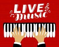 Le musicien joue le piano Musique en direct, affiche Illustration de vecteur illustration libre de droits