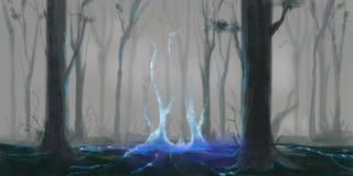 Le mystère Forest Fiction Backdrop Art de concept Illustration réaliste illustration de vecteur