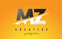 Le MZ M Z Letter Modern Logo Design avec le fond jaune et le Swoo illustration stock