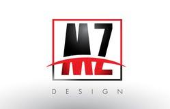 Le MZ M Z Logo Letters avec des couleurs et le bruissement rouges et noirs Image stock