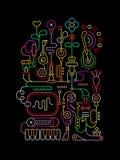 Le néon colore Art Design abstrait Photo libre de droits