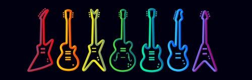 Le néon d'instruments de musique de couleur d'arc-en-ciel tubed la représentation abstraite de groupe de rock de concept de const illustration libre de droits