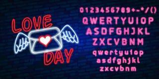 Le néon heureux de jour de valentines rougeoyant de fête se connectent un fond foncé de mur de briques Aimez-vous texte dans la f Images stock
