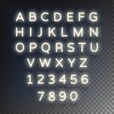 Le néon rougeoyant marque avec des lettres les caractères lumineux sur un fond transparent Illustration de vecteur Photos libres de droits