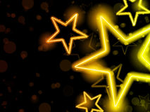 Le néon rougeoyant Stars le fond Images libres de droits