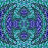 Le néon tournent la fractale, l'illustration avec le cadre circulaire rougeoyant dans la sarcelle d'hiver bleue et les ondulation illustration stock