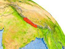 Le Népal dans le modèle rouge de la terre Image libre de droits