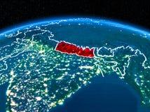 Le Népal de l'espace la nuit Photo stock