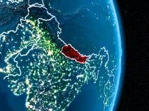 Le Népal en rouge la nuit Image libre de droits