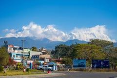 Le Népal - 3 janvier 2017 : : belle montagne de neige dans Annapurna H Images libres de droits