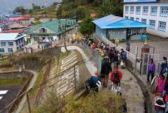 Le Népal, portiers de touristes de Lukla, trekking d'Everest Photos libres de droits