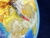Le Népal sur terre de planète de planète avec des frontières de pays Surface et nuages extrêmement détaillés de planète illustrat illustration libre de droits