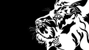 Le?n estilizado en blanco y negro libre illustration