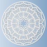 Le napperon de papier de dentelle, fleur décorative, mandala, a gravé le modèle en refief Illustration de Vecteur