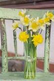 Le narcisse fleurit dans un vase sur une chaise verte image libre de droits