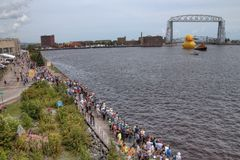 Le navi alte visita Duluth, Minnesota ogni tre anni fotografia stock
