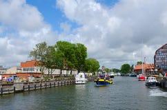Le navi in castello port in Klaipeda, Lituania Immagini Stock Libere da Diritti
