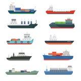 Le navi da carico ed il porta rinfuse della consegna di trasporto di autocisterne preparano l'illustrazione di vettore isolata au illustrazione vettoriale