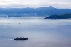 Le navi nel mare Fotografia Stock Libera da Diritti