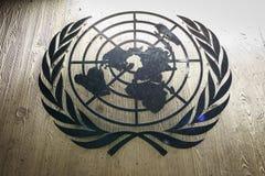 Le Nazioni Unite Badge a Ginevra Immagini Stock Libere da Diritti
