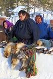 Le Nenets vend des produits du commerce de ressortissant Photos libres de droits
