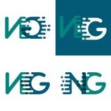 Le NG marque avec des lettres le logo avec l'accent pour expédier dans le pourpre vert et foncé illustration stock
