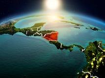 Le Nicaragua dans le lever de soleil de l'orbite Images stock