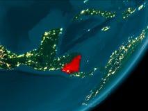 Le Nicaragua de l'espace la nuit Images libres de droits