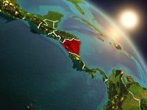 Le Nicaragua de l'espace pendant le lever de soleil Photo libre de droits