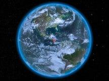 Le Nicaragua la nuit sur terre Image stock