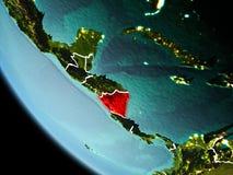 Le Nicaragua la nuit sur terre Images libres de droits