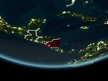Le Nicaragua sur terre de l'espace la nuit Image stock