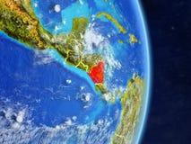 Le Nicaragua sur terre de planète de planète avec des frontières de pays Surface et nuages extrêmement détaillés de planète illus illustration de vecteur
