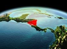 Le Nicaragua sur terre de planète dans l'espace Images stock