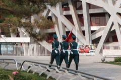 Le nid du ` s d'oiseau est un stade conçu pour l'usage dans tous les 2008 Jeux Olympiques d'été et Paralympics Photo libre de droits