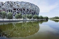 Le nid le Stade Olympique du ` s d'oiseau a reflété le ccanal d'ina, Pékin, Chine Photos stock