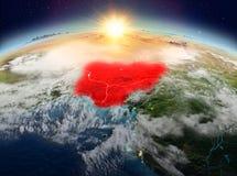 Le Nigéria de l'espace dans le lever de soleil Photographie stock