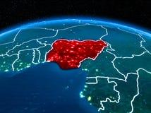 Le Nigéria de l'espace la nuit Photo stock
