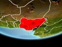 Le Nigéria en rouge le soir Images libres de droits