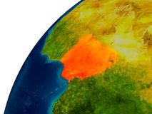 Le Nigéria sur le globe Photographie stock