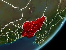 Le Nigéria sur terre de nuit Photo libre de droits