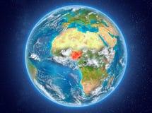 Le Nigéria sur terre de planète dans l'espace Images stock