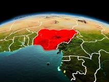 Le Nigéria sur terre de planète dans l'espace Image libre de droits