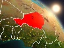 Le Niger de l'espace pendant le lever de soleil illustration stock