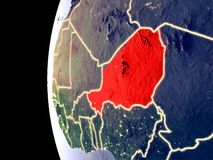 Le Niger sur le globe de l'espace illustration stock