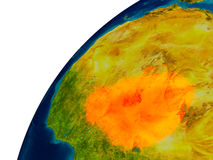 Le Niger sur le globe Image stock